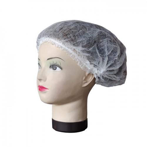 Текстилно еднократно боне в бял цвят, 52 см – 100бр.