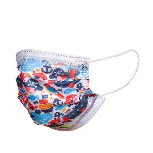 Детски медицински маски за еднократно ползване, 50 броя, цветни