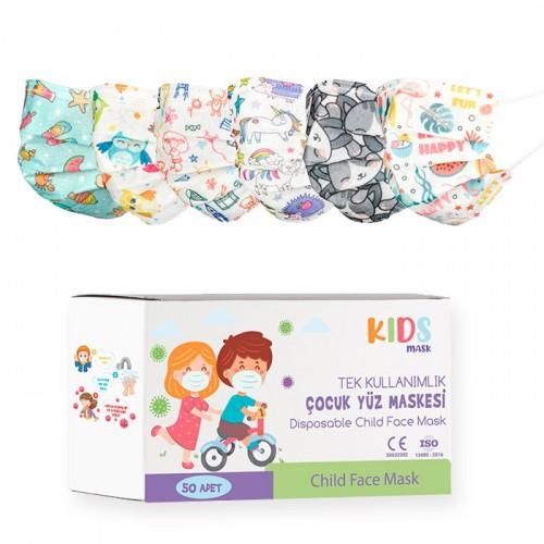 Детски медицински маски за еднократно ползване с различни картинки, 50 броя