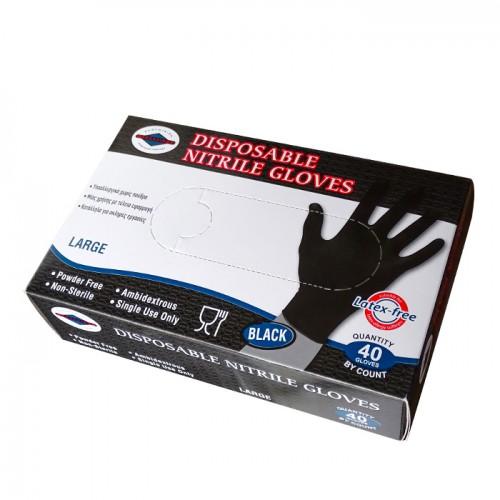 Черни ръкавици за еднократна употреба от нитрил, 40 броя